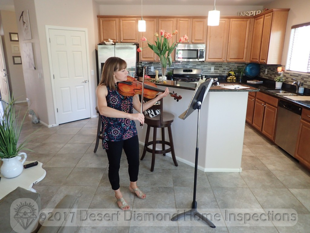 The lovely and talented Kaety Byerley providing live music during a home inspection