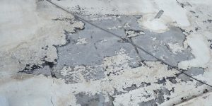 Badly deteriorated flat roof