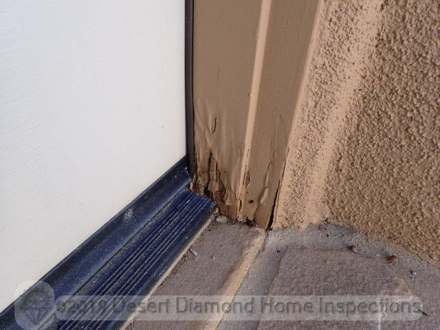 Damaged door frame trim