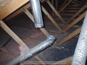 Disconnected dryer vent in attic