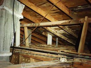 Moisture damage in attic